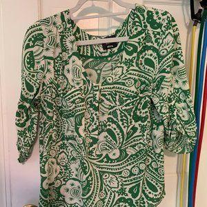 Anthropologie Maeve green & white blouse M
